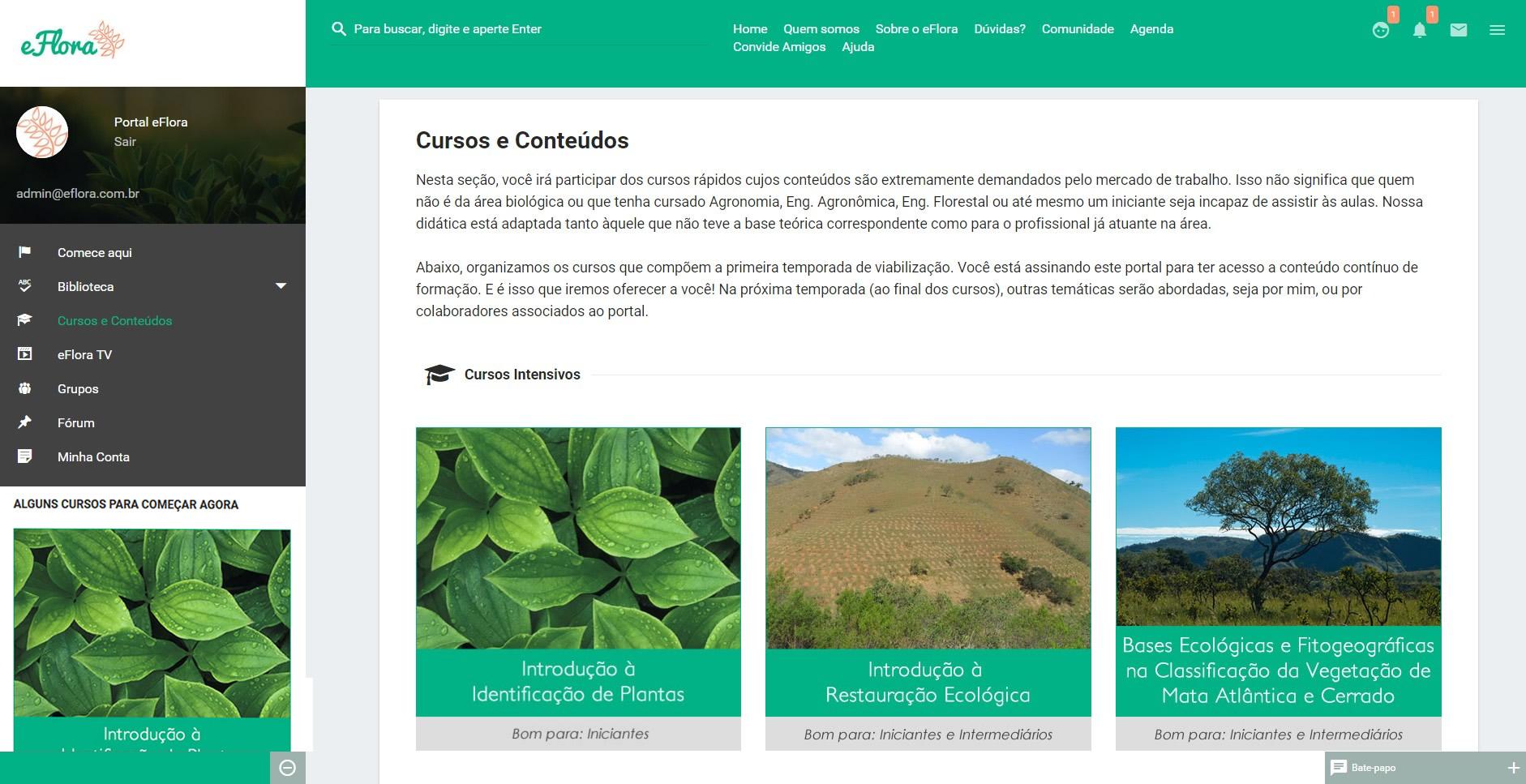 Cursos de botanica e meio ambiente